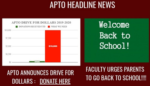 Post image for APTO calls for critically needed support: Dollars Drive and school volunteers
