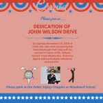 Flyer for John Wilson Drive dedication