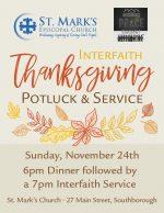 Interfaith Thanksgiving potluck & service flyer