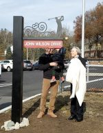 John Wilson Drive dedication with family cropped from tweet by Town