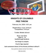 2020 KoC Free Throw contest flyer