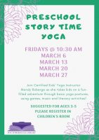 Prek story time yoga flyer