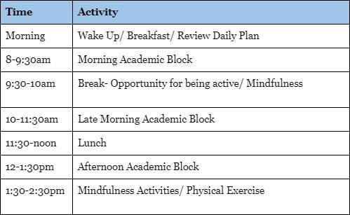 Example activity schedule for Trottier