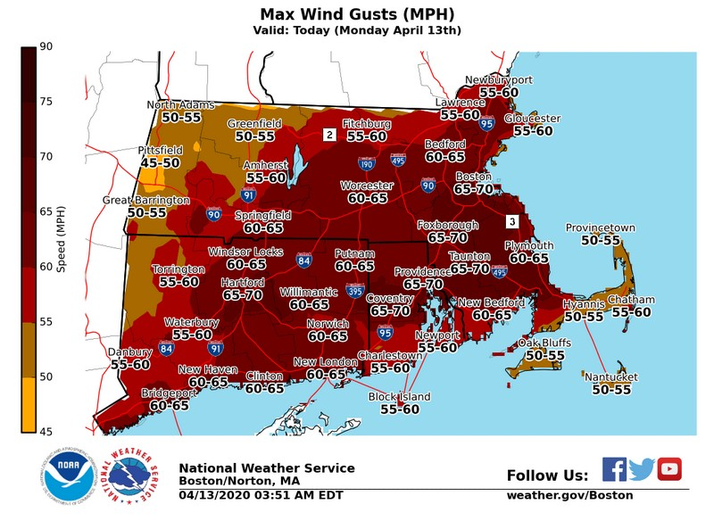 NWS Wind Warning April 13, 2020
