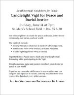 Candlelight Vigil for Peace and Racial Justice flyer