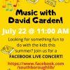 Music with David Garden Facebook Live concert flyer