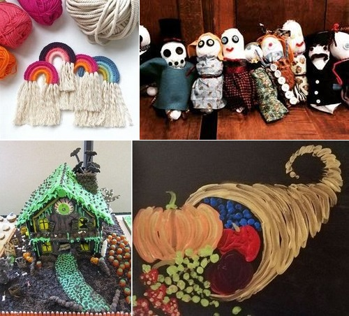 Post image for Virtual Arts & Crafts: Rainbows, Spooky Puppets, Haunted Gingerbread Houses, and a painting party
