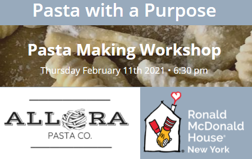 Post image for Pasta with a Purpose: February 11th virtual workshop to support Ronald McDonald House