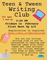 teen & tween writing club flyer