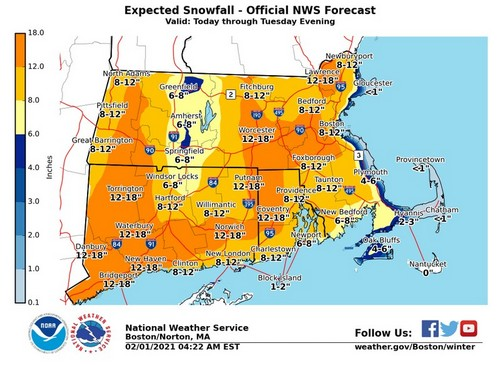 NWS Expected snow Feb 1-2