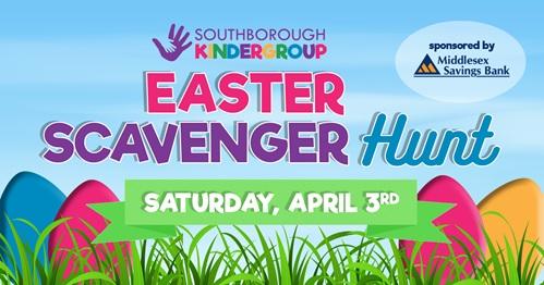 """Post image for Kindergroup announcing Easter Scavenger Hunt for the """"Golden Egg Raffle Basket"""""""