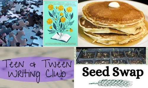 Post image for Events this week: Senior Puzzle Exchange, Books in Bloom, ARHS Jeopardy, Creative Writing, Seed Swap, and Pancake Breakfast