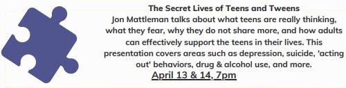Post image for Cancelled – The Secret Lives of Teens & Tweens – April 13 & 14 (Updated)