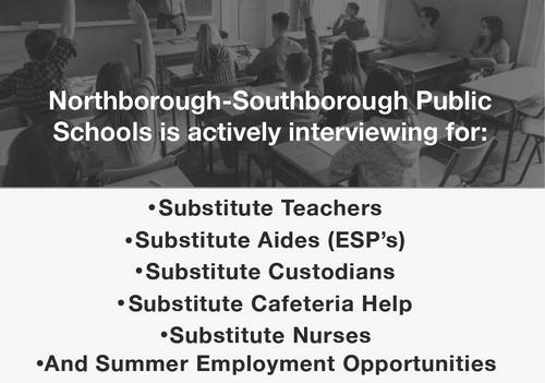 Post image for Schools seeking Substitutes – teachers, aides, custodians, cafeteria staff, nurses, and summer help