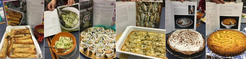 Examples of Cookbook Club dishes from starters to desert