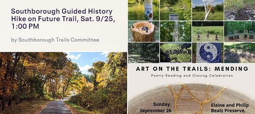 """Post image for Weekend at a Glance: Read to a Dog, """"College List"""" Webinar, History Hike, and Art on Trails closing ceremony/Poetry Walk"""